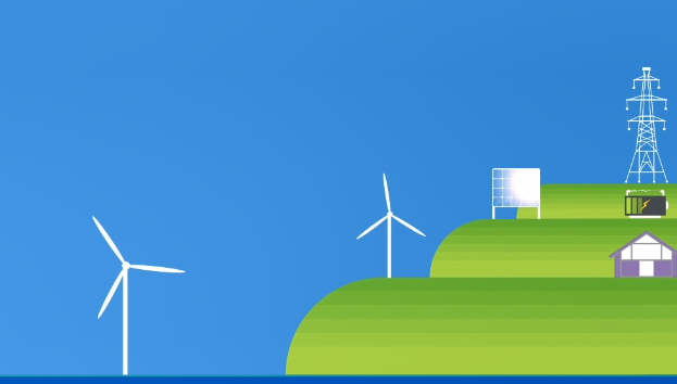 Stylised graphic of wind turbines